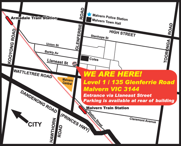 We have moved to: Level 1 / 135 Glenferrie Road, Malvern VIC 3144 (Entrance via Llaneast Street - parking is available at rear of building)